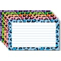 Top Notch Teacher Products® 3in. x 5in. Lined Border Index Card, Multi Colored Leopard