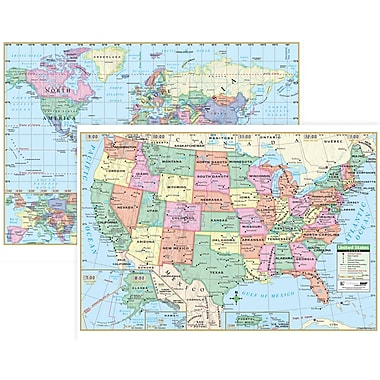 KAPPA Map Group UNI12489 US/World Rolled Map Combo, Paper