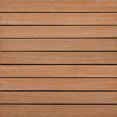 Kontiki Hardwood 16in. x 16in. Interlocking 9 Slat Deck Tile, Brown