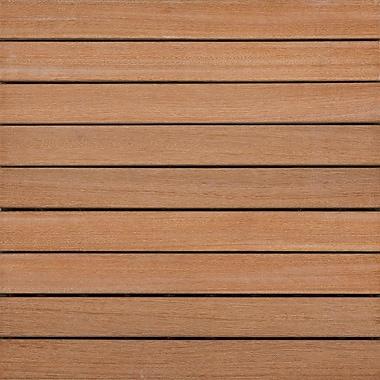 Kontiki Hardwood 16in. x 16in. Interlocking 9 Slat Deck Tile, Brown