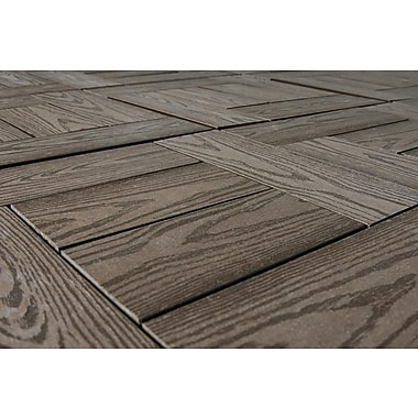 Kontiki Composite 12in. x 12in. Interlocking Deck Tile, Chocolate Wood Grain