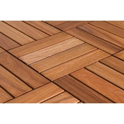 FlexDeck 12in. x 12in. Wood Deck Tile, Copacabana Ipe Champagne