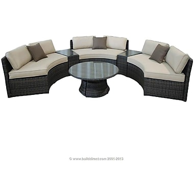 Kontiki Monte Carlo Series Patio Curved Bench Conversation Set, 6 Piece