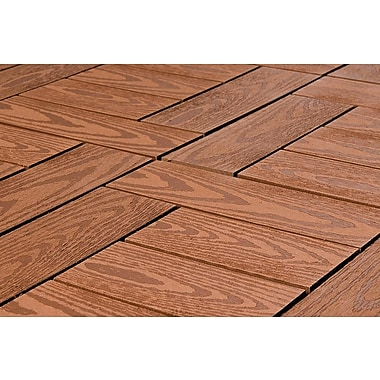 Kontiki Composite 12in. x 12in. Interlocking Deck Tile, Redwood Wood Grain