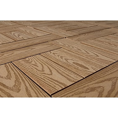 Kontiki Composite 12in. x 12in. Interlocking Deck Tile, Teak Wood Grain