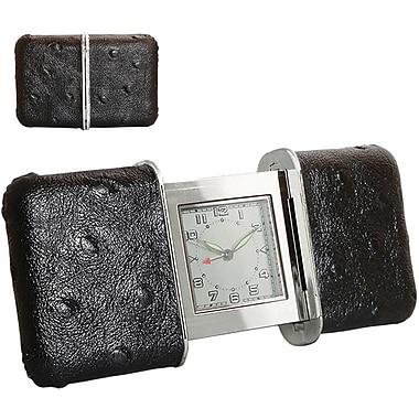 Natico 10-101BK Leather Analog Travel Clock, Black