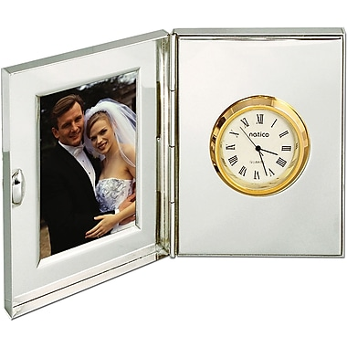 Natico Polished Silver Metal Desk Clock With Frame