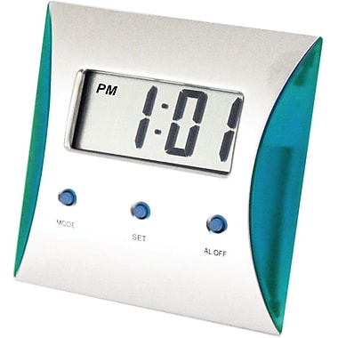 Natico Metal Desk/Travel LCD Alarm Clock, Silver/Turquoise