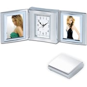 Natico Polished Silver Metal Tri Fold Alarm Clock With Double Frame