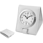 Natico Faux Leather Folding Alarm Clock, White