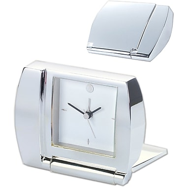 Natico 10-1365 Metal Analog Folding Alarm Clock, Silver