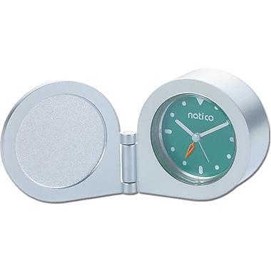 Natico 10-150TIN Analog Travel Clock, Matte Silver