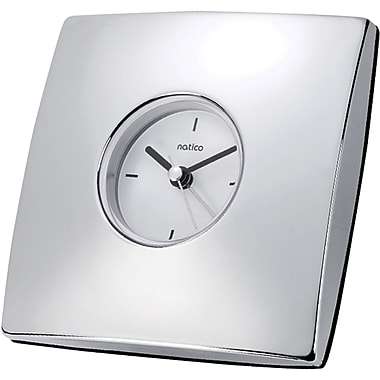Natico Contempo Square Desk Alarm Clock, Silver