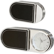 Natico Metal Folding Alarm Clock With Leather Trim, Silver, Black