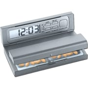 Natico Digital Travel Alarm Clock and Pill Box, Matte Silver