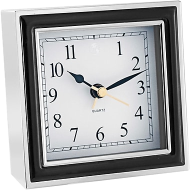 Natico 10-45888B Chrome-Plated Analog Alarm Clock, White/Black