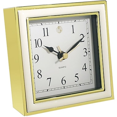 Natico 10-45888W Chrome-Plated Analog Alarm Clock, Gold/White
