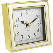 Natico Alarm Clock, White Enamel/Gold