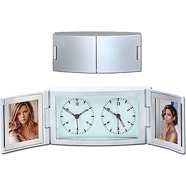 Natico Dual Time Alarm Clock With Frame, Matte Silver