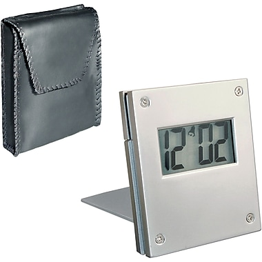 Natico Aluminum Folding Travel Alarm Clock, Aluminum
