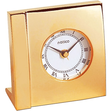 Natico Square Boutique Alarm Clock, Gold