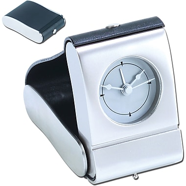 Natico 10-82690 Metal Digital Folding Travel Clock, Silver/Black