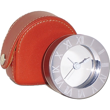 Natico Travel Alarm Clock With Leather Case, Chrome