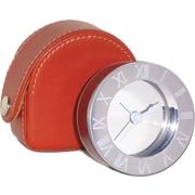Natico Travel Alarm Clock With Leather Case, Chrome