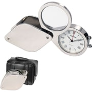 Natico Travel Alarm Clock With Magnifier and Leather Case, Silver