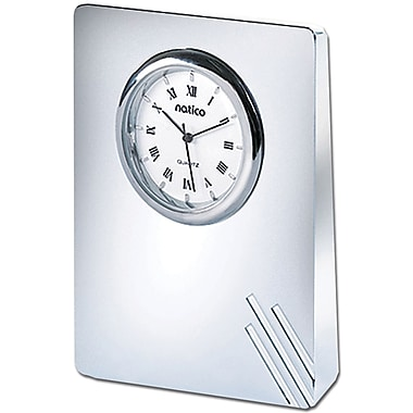 Natico 10-908L Analog Contempo II Desk Clock, Silver