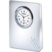 Natico Contempo II Desk Clock With Lines, Silver