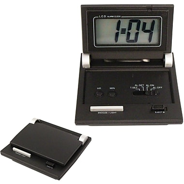 Natico Folding LCD Travel Alarm Clock, Black Matte