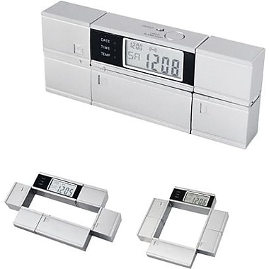 Natico Rotating Multifunction Alarm Clock, Matte Silver