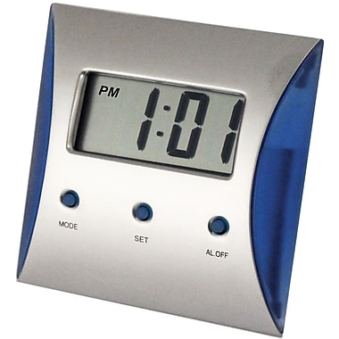 Natico LCD Desk Alarm Clock, Pearl Silver, Blue