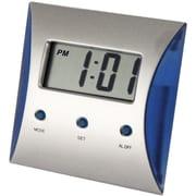 Natico LCD Desk Alarm Clock, Pearl Silver, Blue