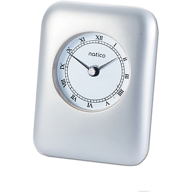Natico Contempo Desk Alarm Clock, Pearl Silver