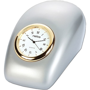 Natico 10-P792 Analog Tron Desk Clock, Pearl Silver