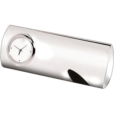 Natico 10-U1104 Metal Analog Opus Desk Clock, Silver/Black