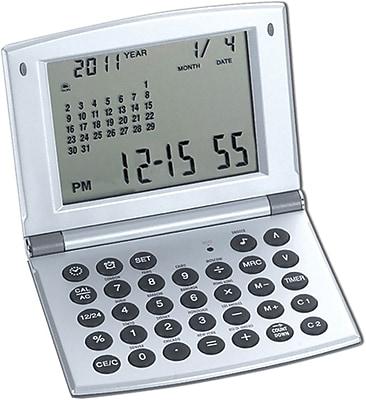 Natico Multi Functional Alarm Clock, Matte Silver 51090