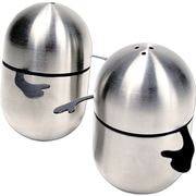 Natico Stainless Steel Humpty Dumpty Shaped Salt and Pepper Shaker, Silver