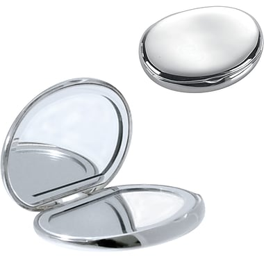 Natico Metal Oval Shaped Compact Mirror, Silver