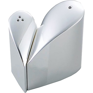 Natico Polished Silver Metal Heart Shaped Salt and Pepper Shaker