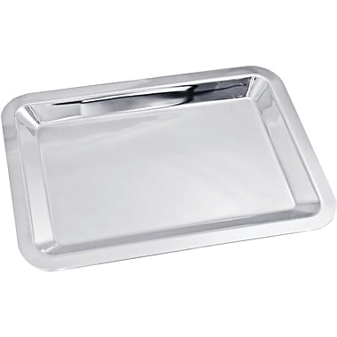Natico Polished Silver Nickel Plated Large Serving Tray