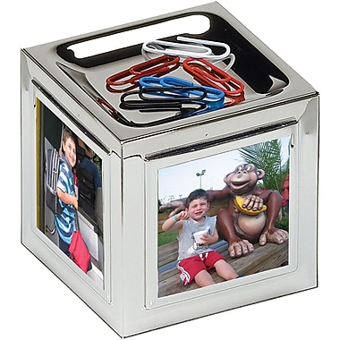 Natico Cube Magnetic Clip Holder For Three Photos, Silver