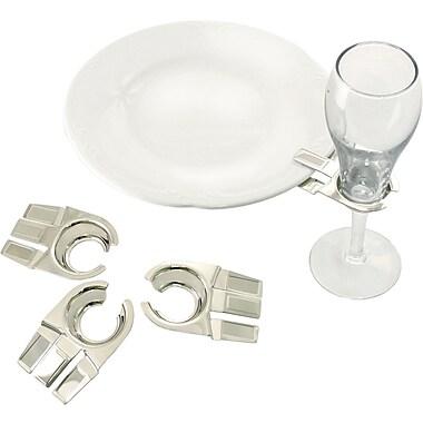 Natico Set of 4 Glass Clip Holder, Silver