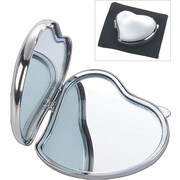 Natico Heart Shaped Compact Mirror, Silver