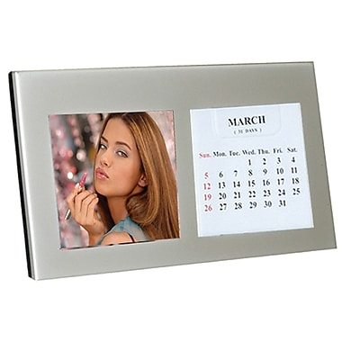 Natico Silver Photo Frame and Calendar, 2 1/4in. x 2 1/4in.