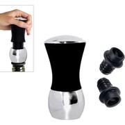 Natico Black Wine Pump and Stopper Set