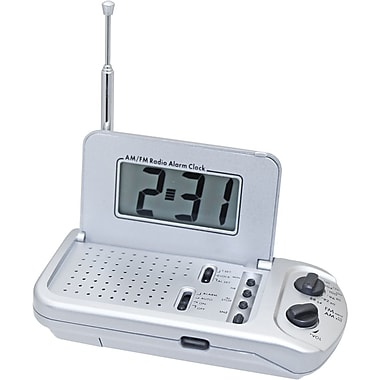 Natico Travel AM/FM Digital Clock Radio With Alarm, Matte Silver