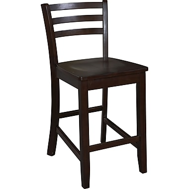 Linon Manhattan 24in.(H) Seat Wood Paesanne Stool, Espresso